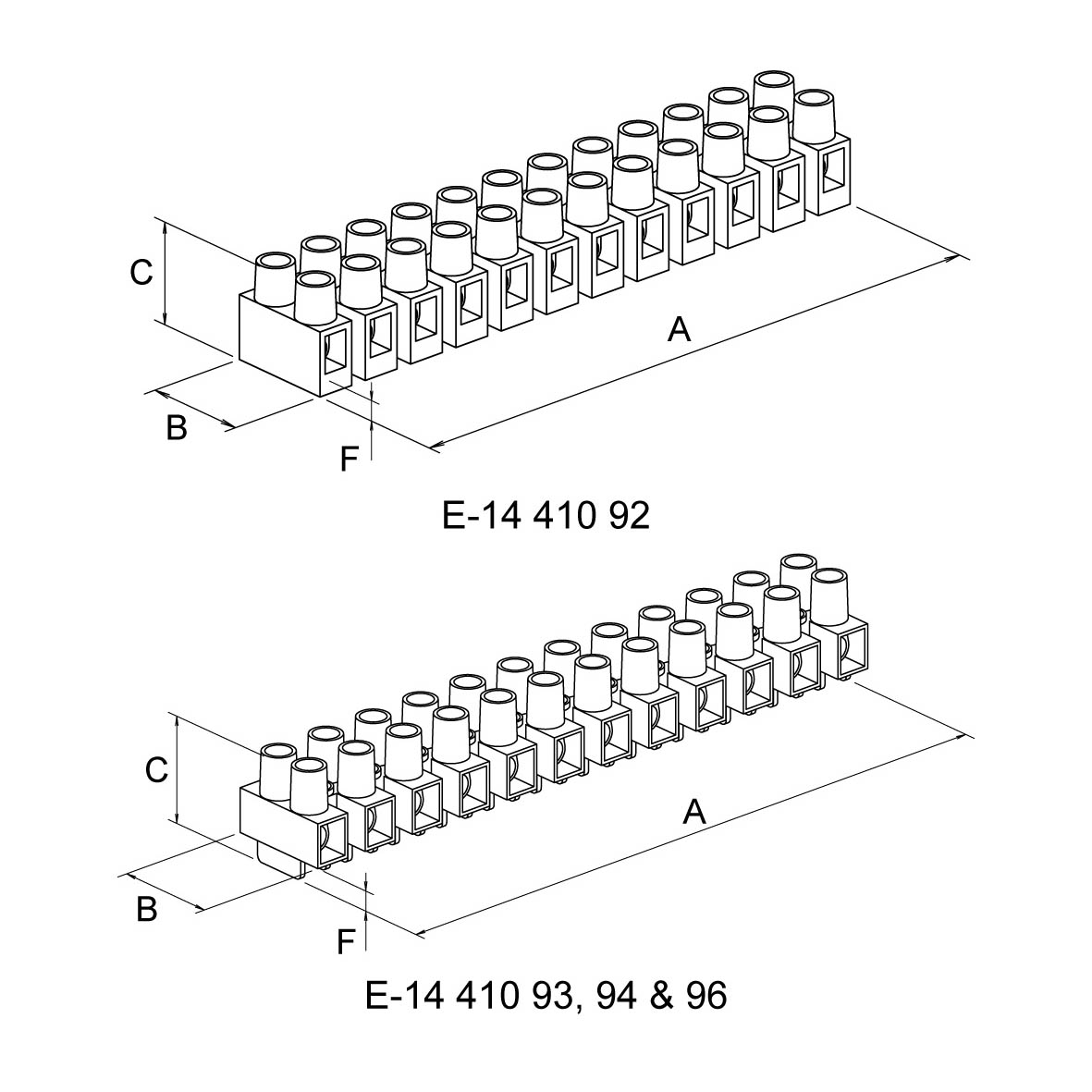 Connector Strip Polymide 12 Pole With Raised Base And Wire